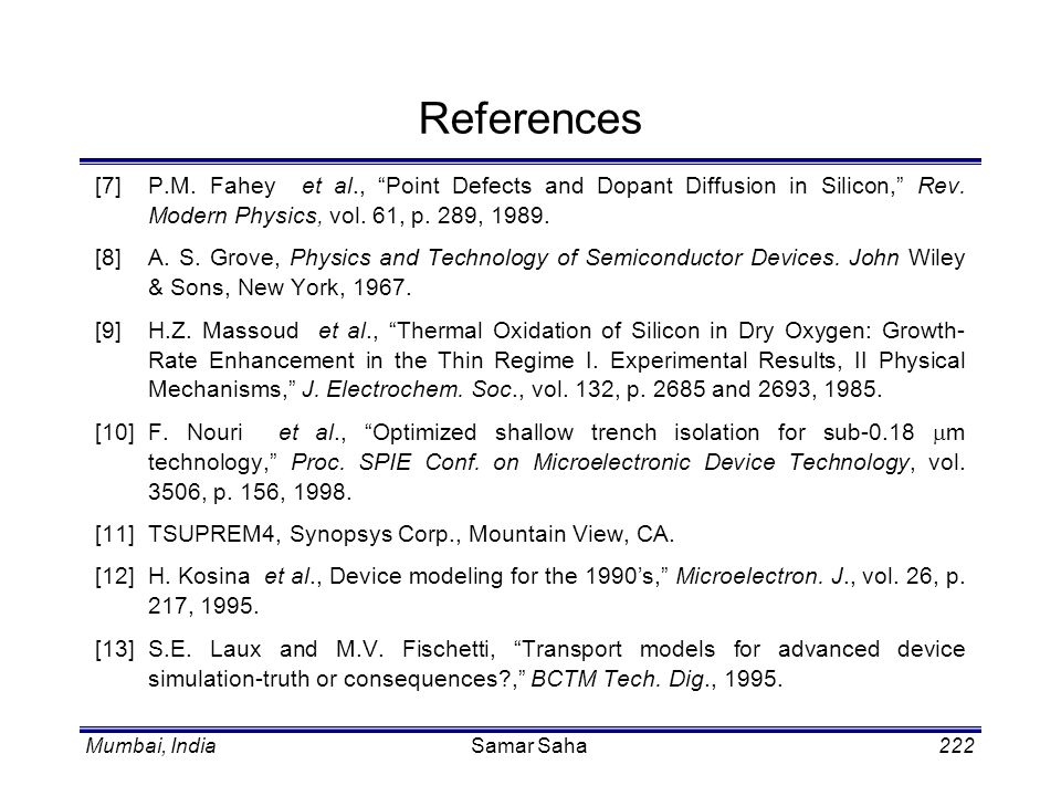 References [7] P.M. Fahey et al., Point Defects and Dopant Diffusion in Silicon, Rev. Modern Physics, vol. 61, p. 289, 1989.